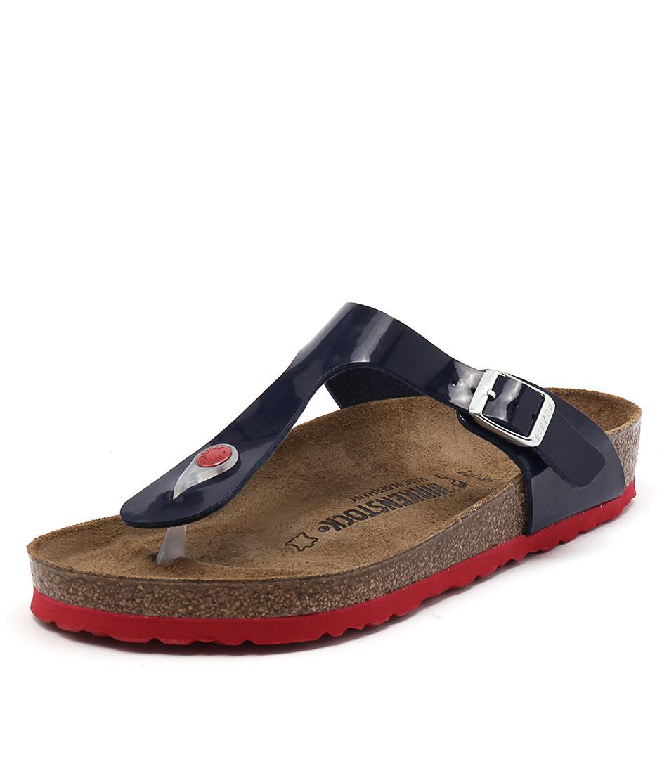 Birkenstock Gizeh Blue Patent-Red Birko-Flor Sandals