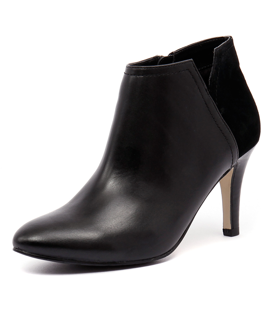 Diana Ferrari Juju Black Leather-Black Suede Boots