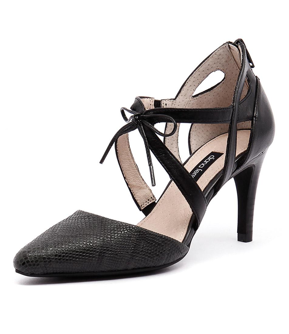 Diana Ferrari Tigerlily Embossed Black Shoes