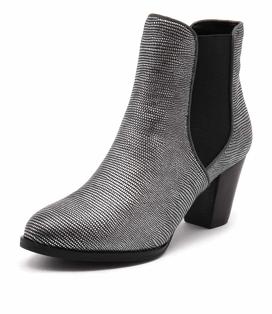 Diana Ferrari Lola Gunmetal Lizard Boots