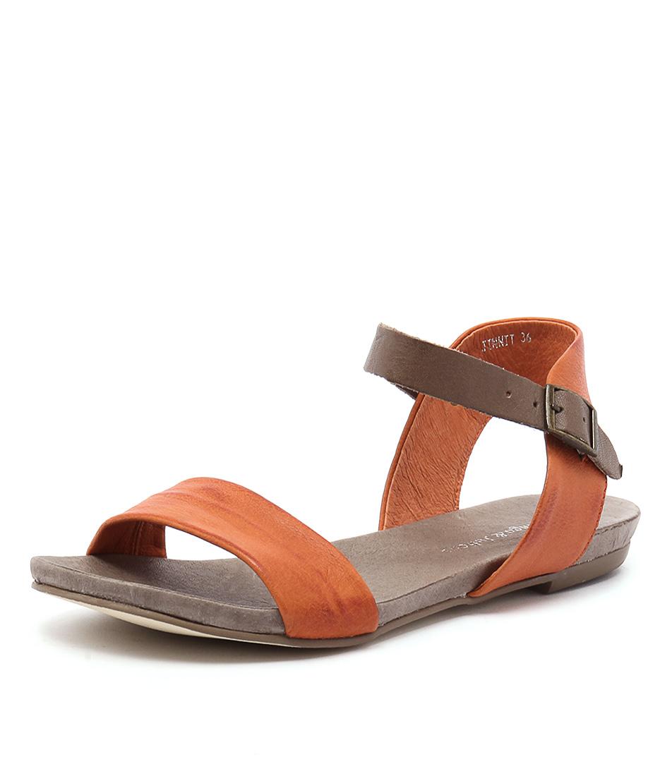 Django & Juliette Jinnit Orange-Taupe Sandals