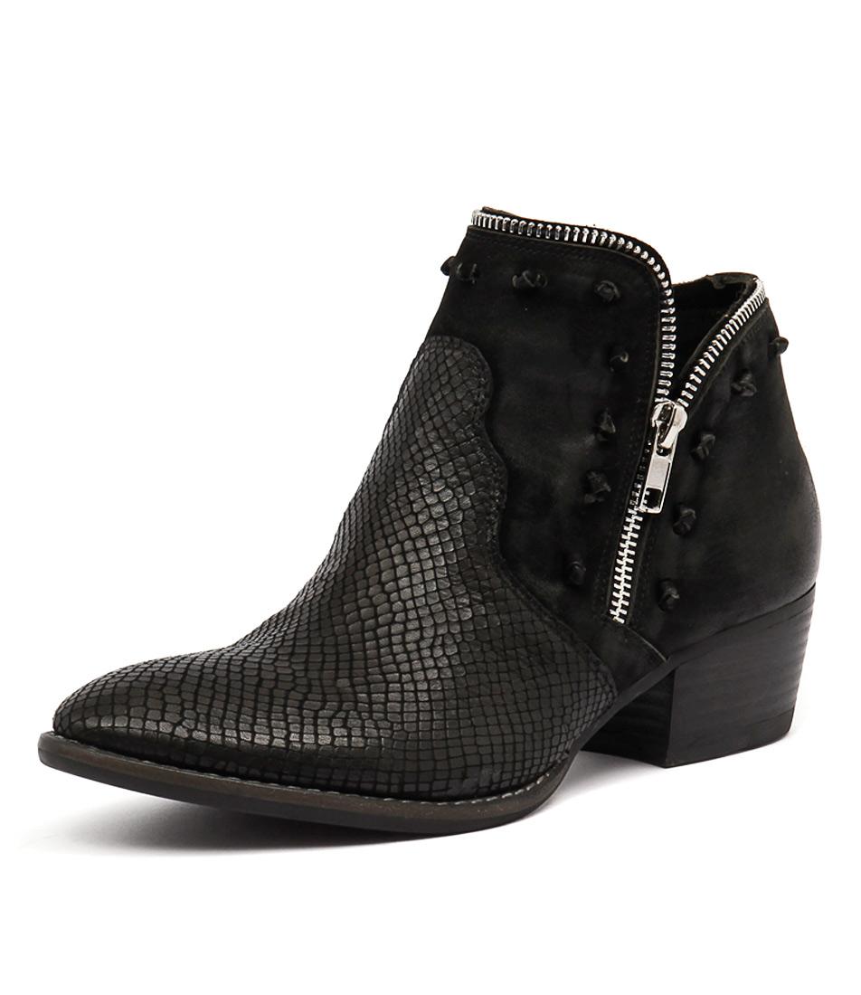 Django & Juliette Lohan Black Print-Black Nubuck Boots online