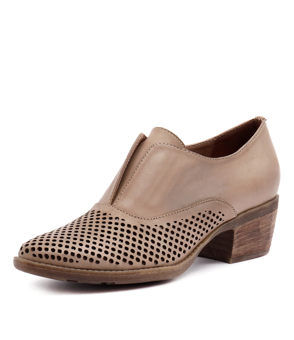 Django & Juliette Shinka Taupe Punch-Taupe Leather Loafers & Slip-Ons