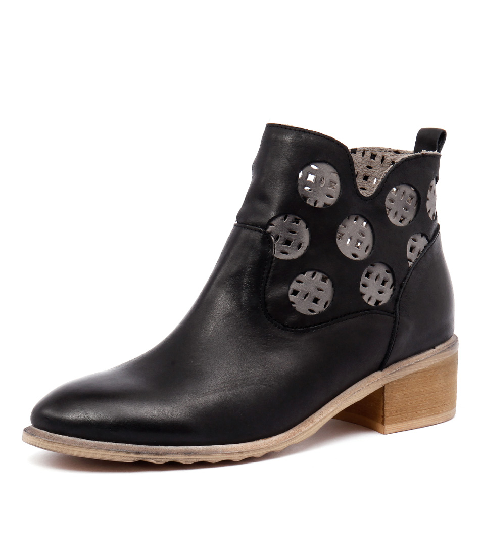 Django & Juliette Piazza Black-Grey Leather Boots