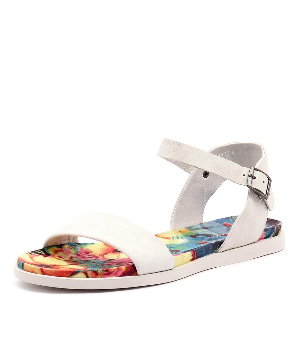 Django & Juliette Helma White Leather-White Sole Sandals