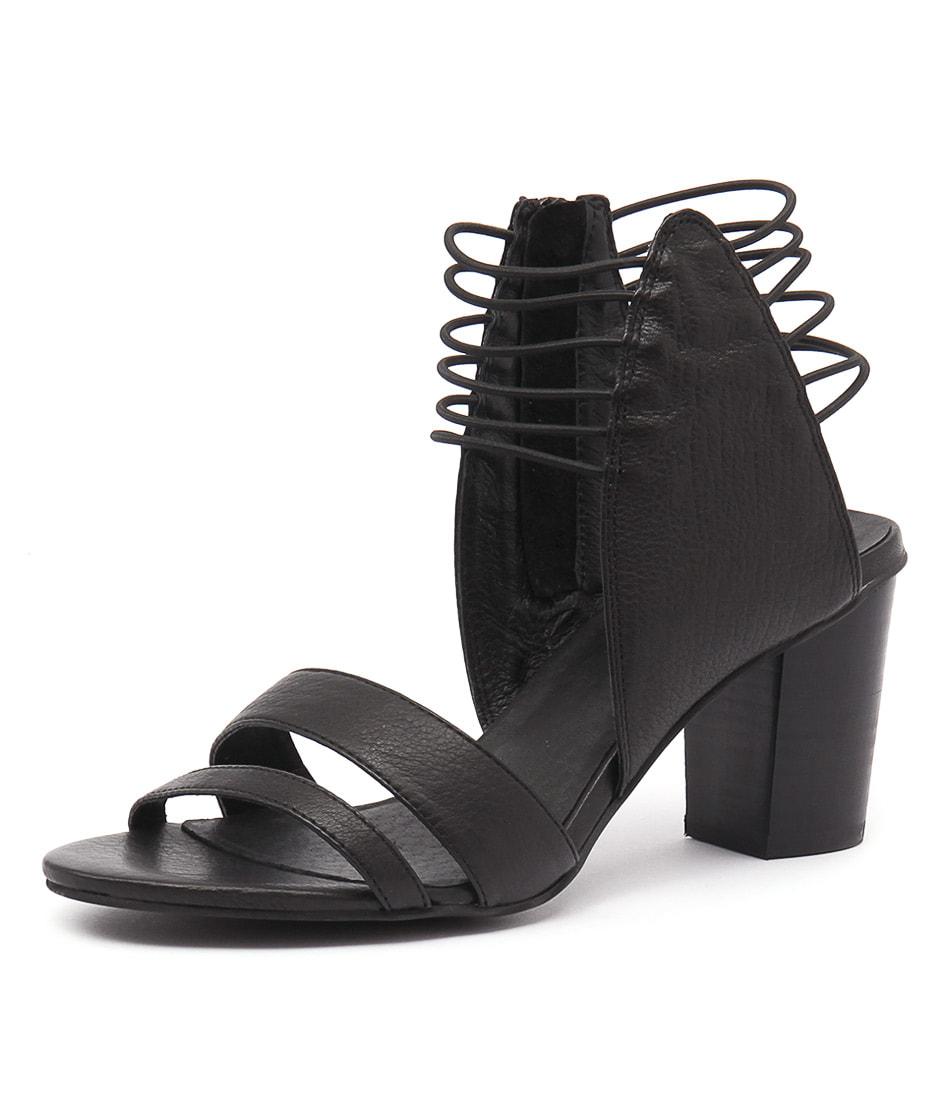 Django & Juliette Ann Black Leather-Black Elastic Sandals online