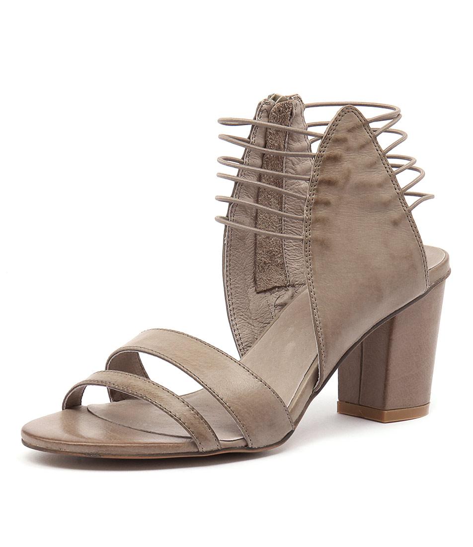 Django & Juliette Ann Taupe Leather-Taupe Elastic Sandals
