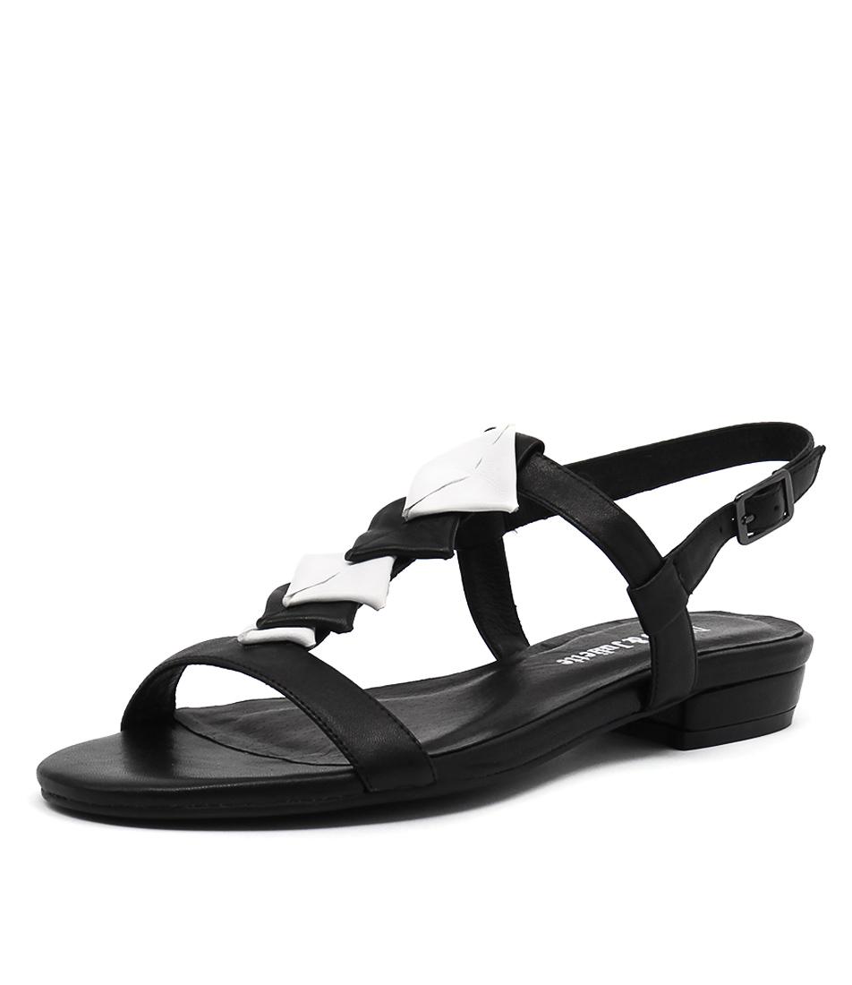 Django & Juliette Doinit Black-White Leather Sandals