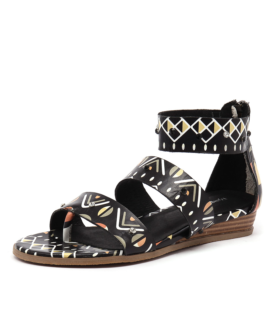 Django & Juliette Heaps Black Tribal Sandals