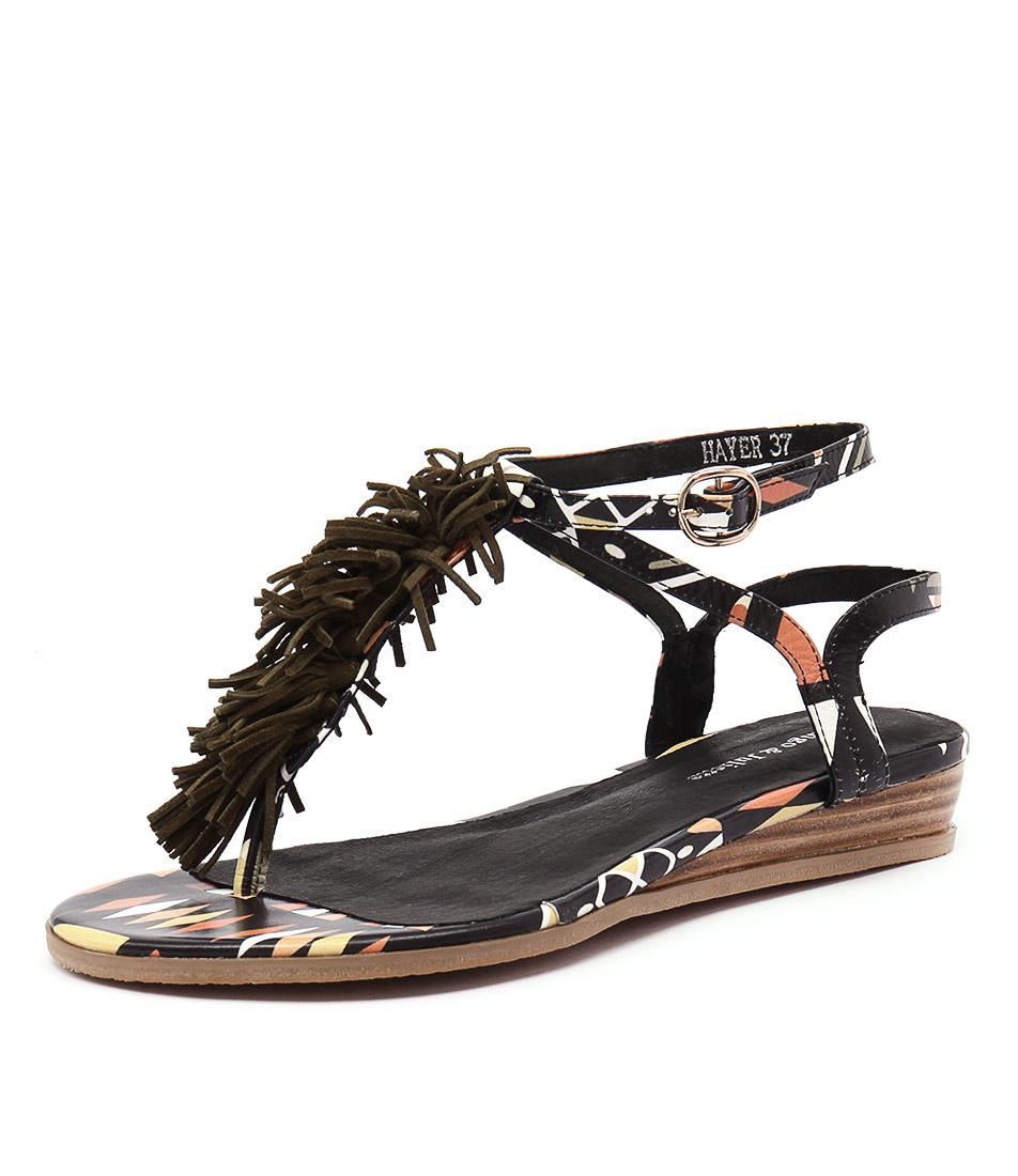 Django & Juliette Hayer Black Tribal-Khaki Suede Sandals