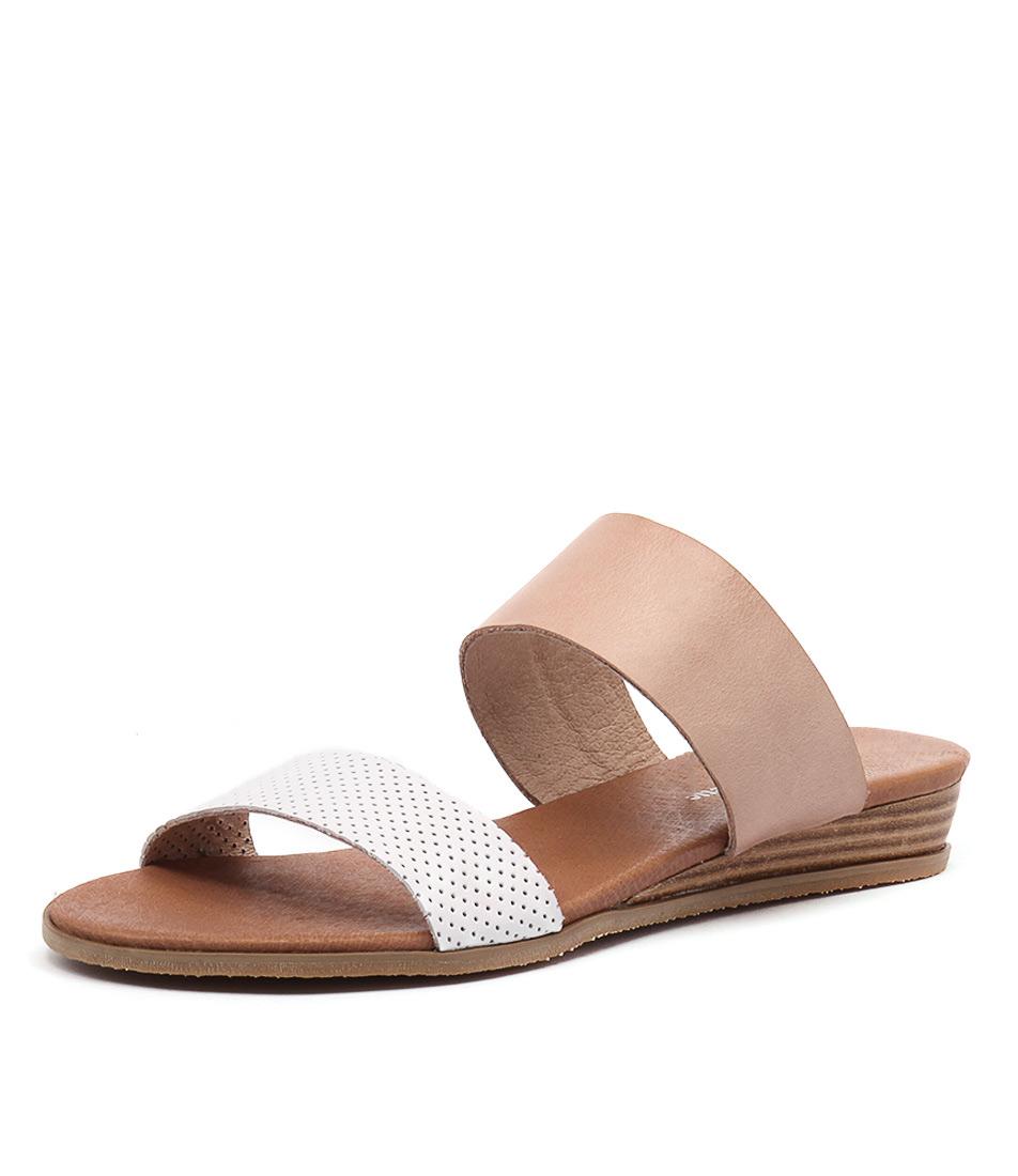 Django & Juliette Hadmy White Pinpunch-Nude Leather Sandals online