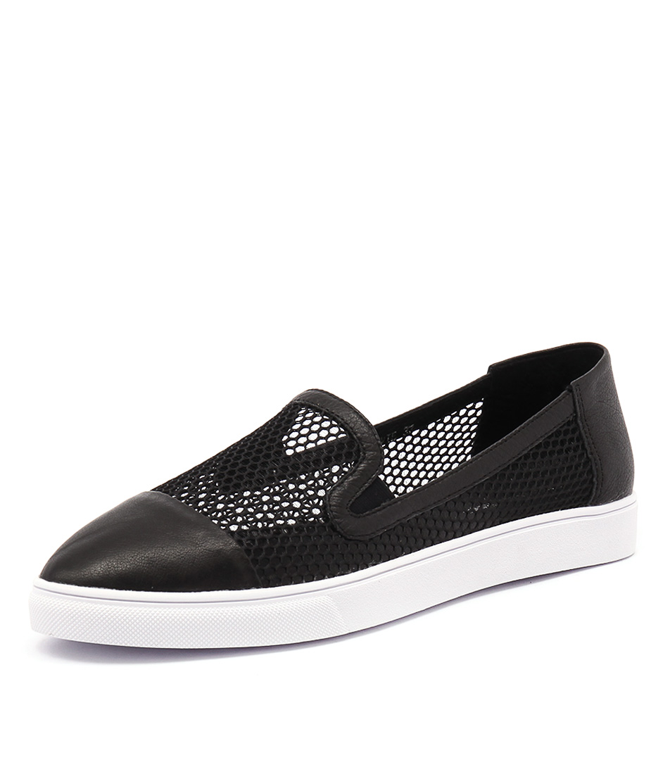 Django & Juliette Harvie Black Leather-Black Mesh Loafers