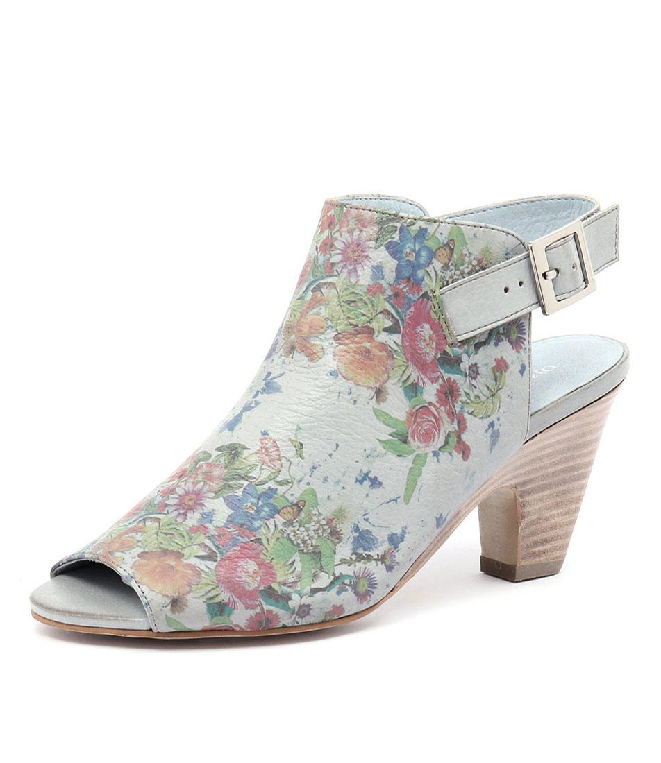 Django & Juliette Kara Blue-Grey Flower Leather Sandals