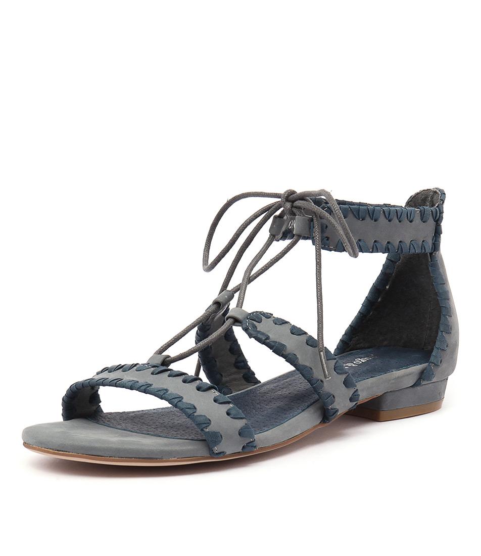 Django & Juliette Ontys Dark Blue-Mid Blue Leather Sandals online