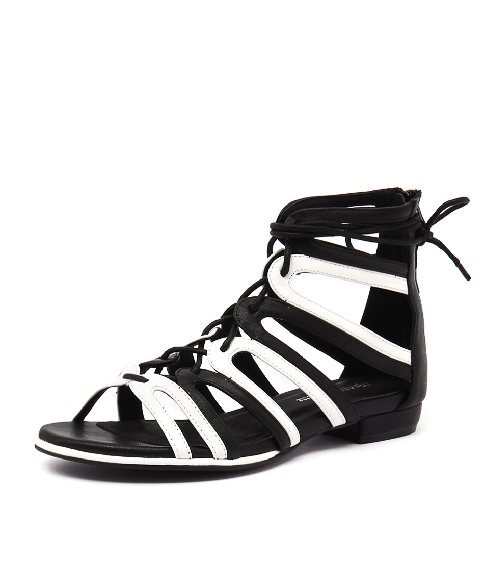 Django & Juliette Odessa Black-White Leather Sandals