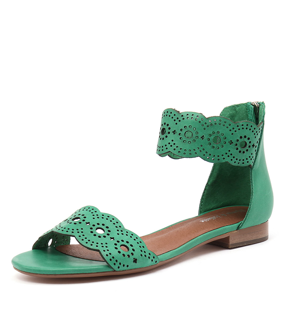 Django & Juliette Palatie Spearmint Leather Sandals