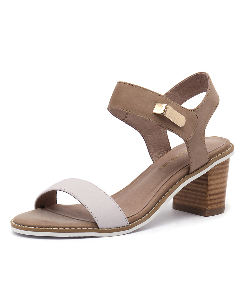 Django & Juliette Quno White-Latte Leather Sandals