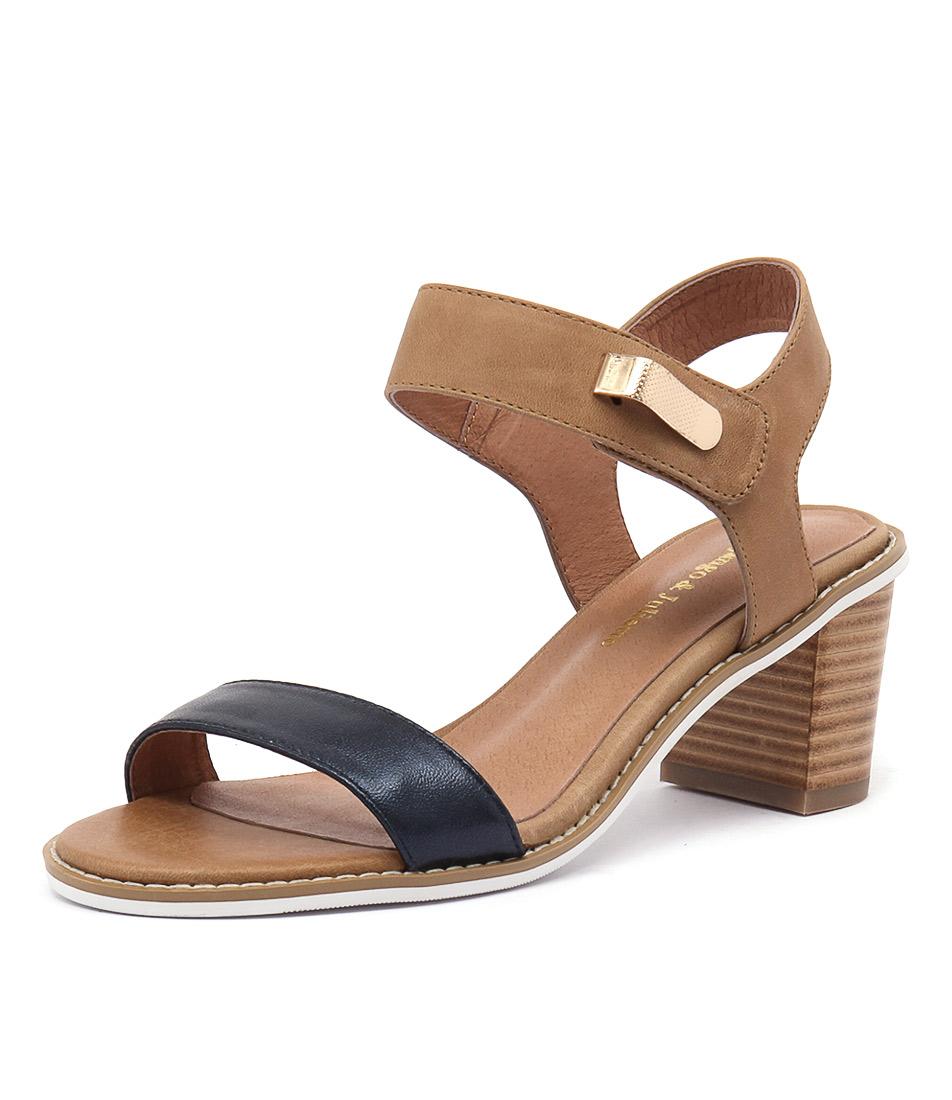 Django & Juliette Quno Navy Metallic-Tan Leather Sandals