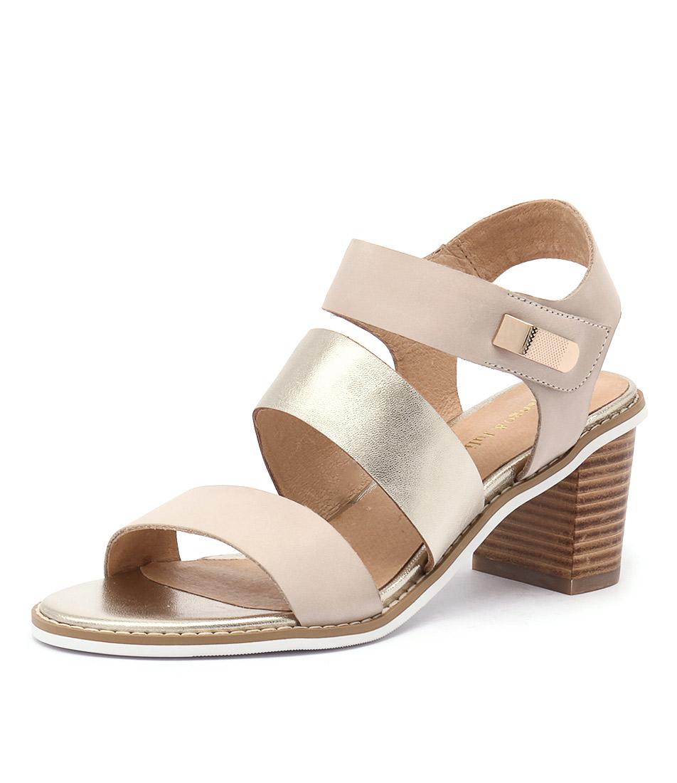 Django & Juliette Quillen Beige-Pale Gold Leather Sandals