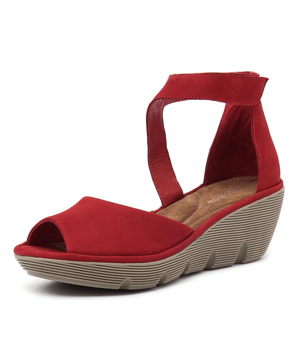 Django & Juliette Tina Red Nubuck Sandals
