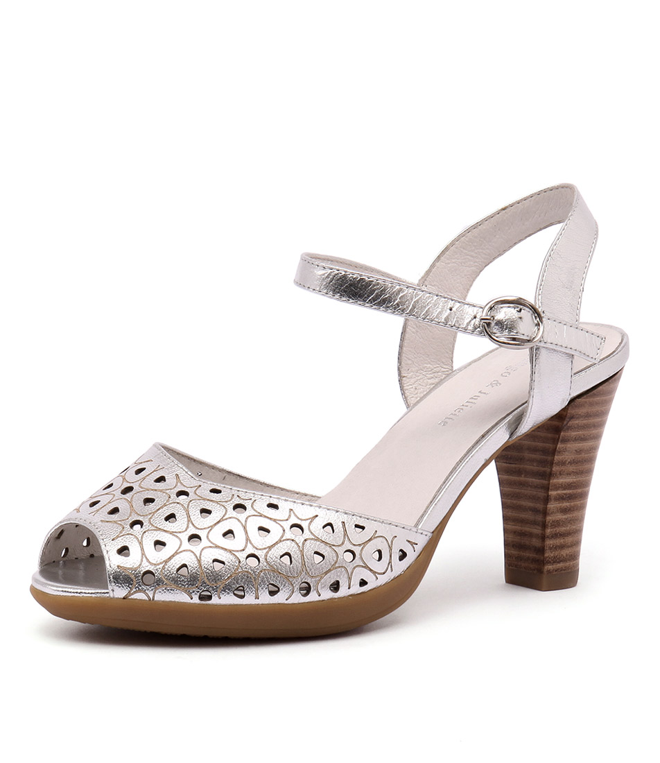 Django & Juliette Wappa Washed Silver Leather Sandals