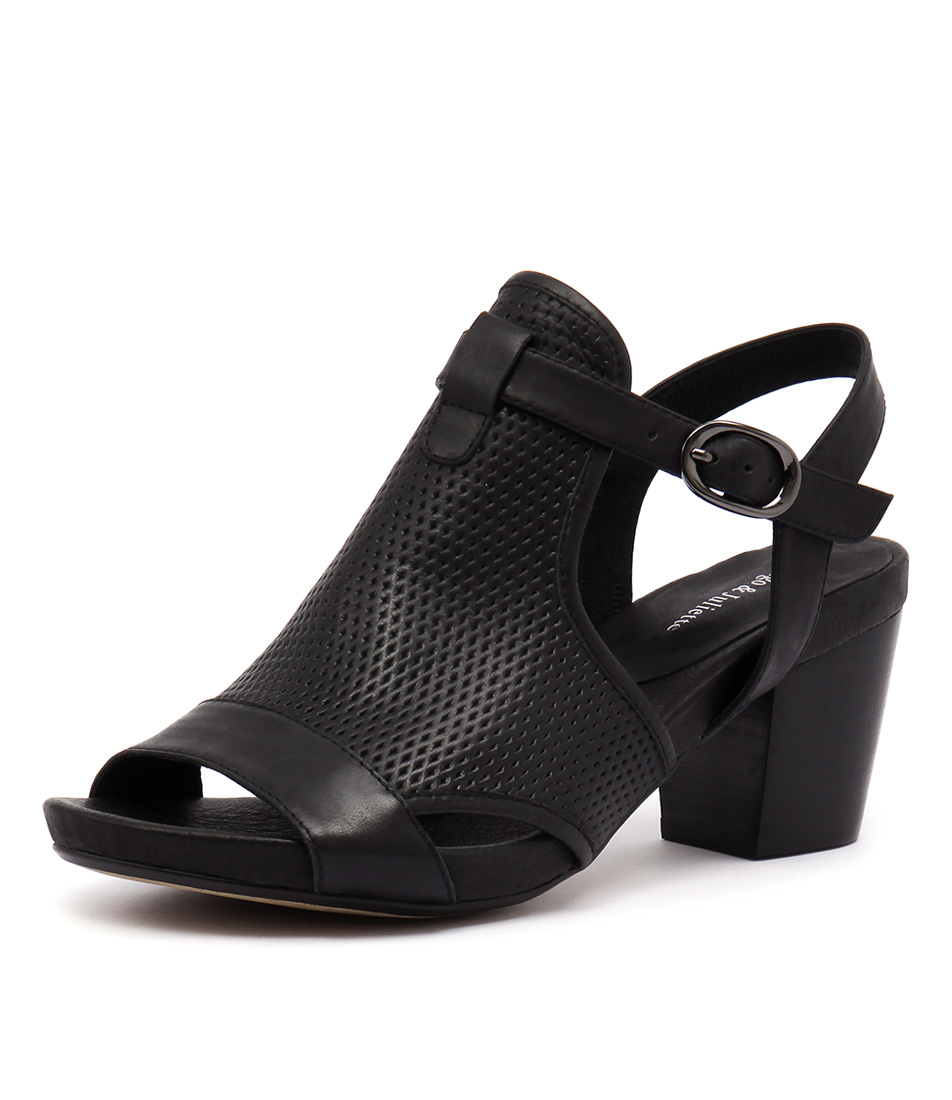 Django & Juliette Zunton Black Punch Leather Sandals online