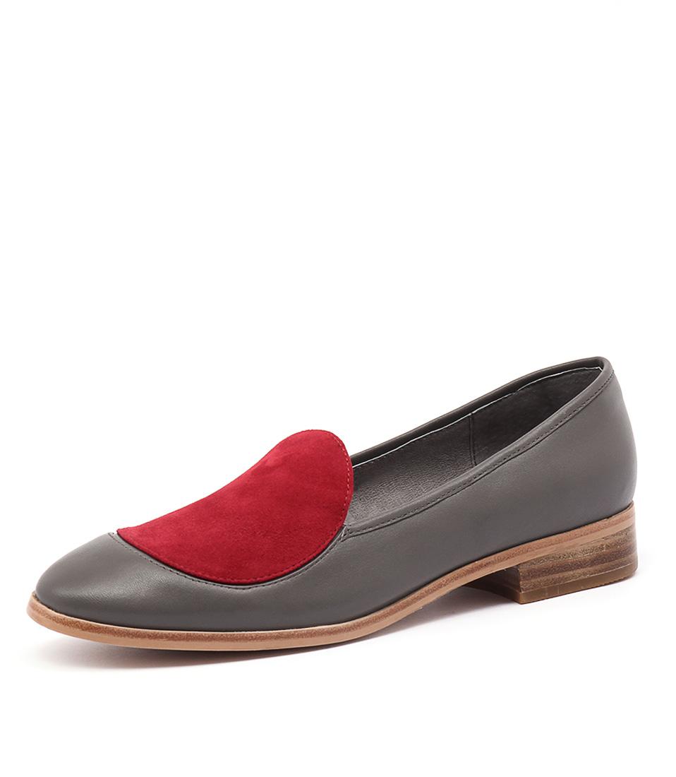 Django & Juliette Diskette Grey Leather-Red Suede Shoes