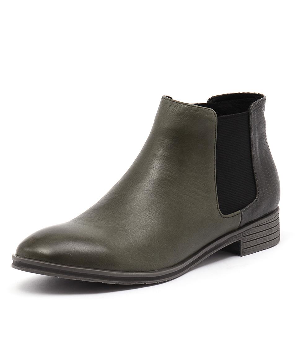 Django & Juliette Fali Olive Leather Embossed Boots