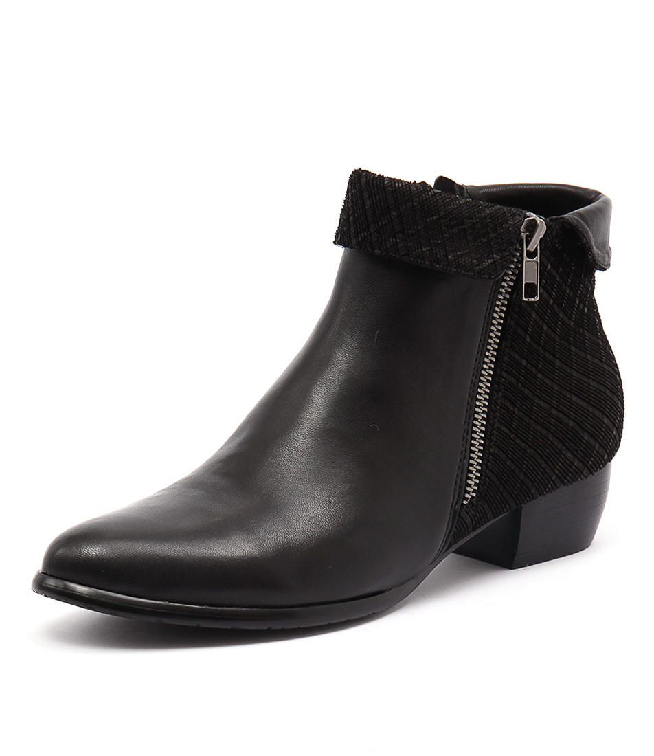 Django & Juliette Twister Black Leather-Cut Boots