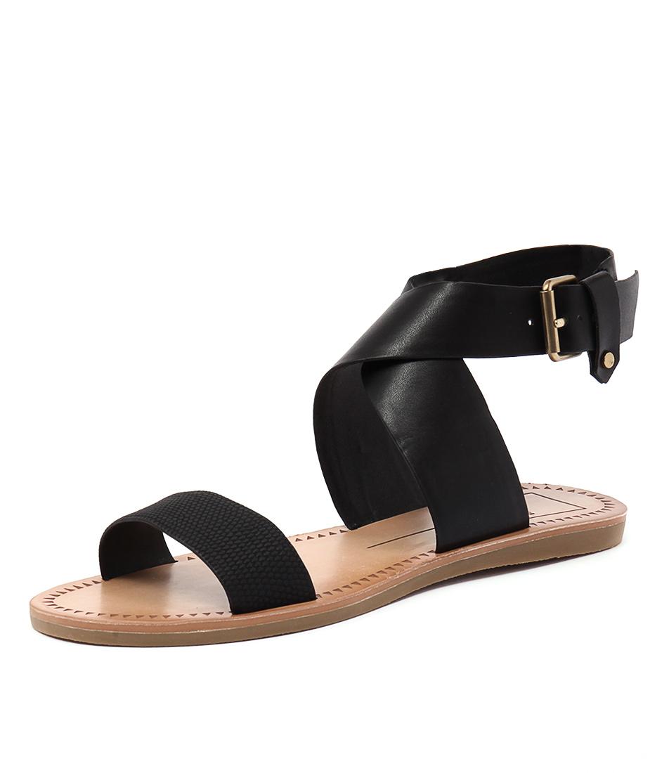 Dolce Vita Julius Black Lizard Embossed Sandals