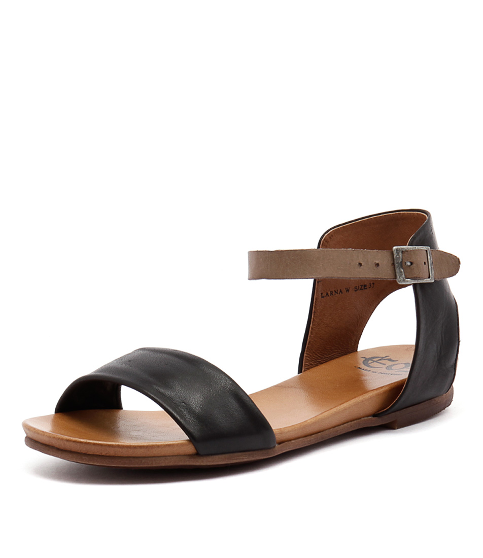 EOS Larna Black-Taupe Sandals