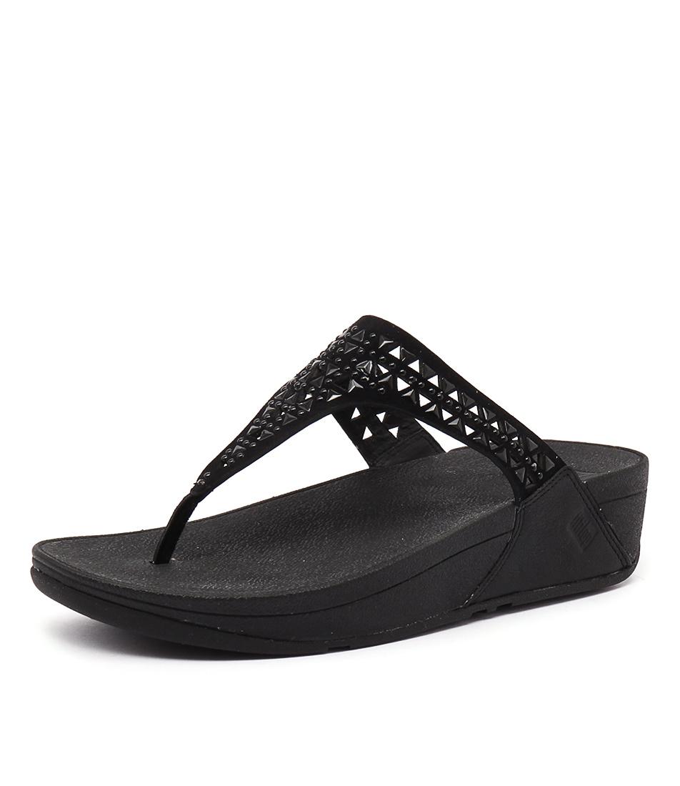 FitFlop Carmel Toe Post Black Sandals