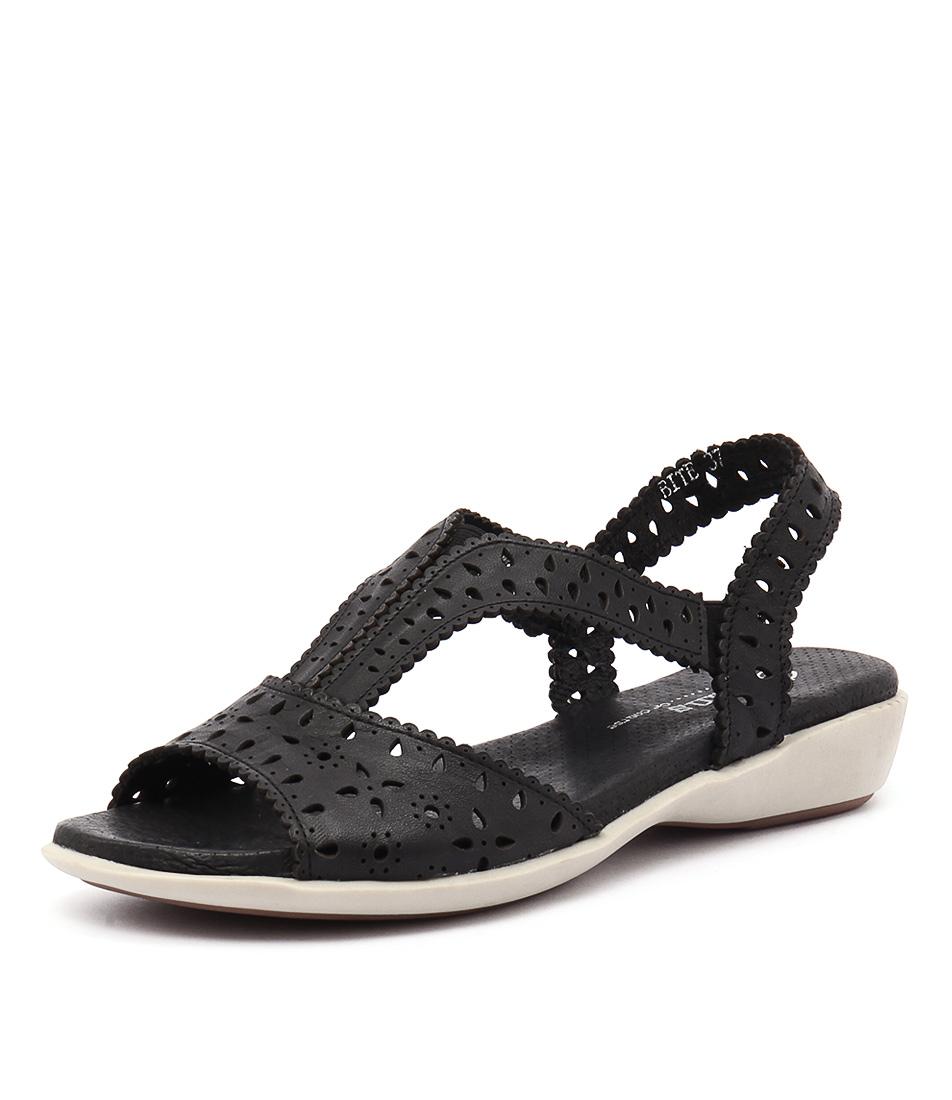 Gamins Bite Black Leather Sandals