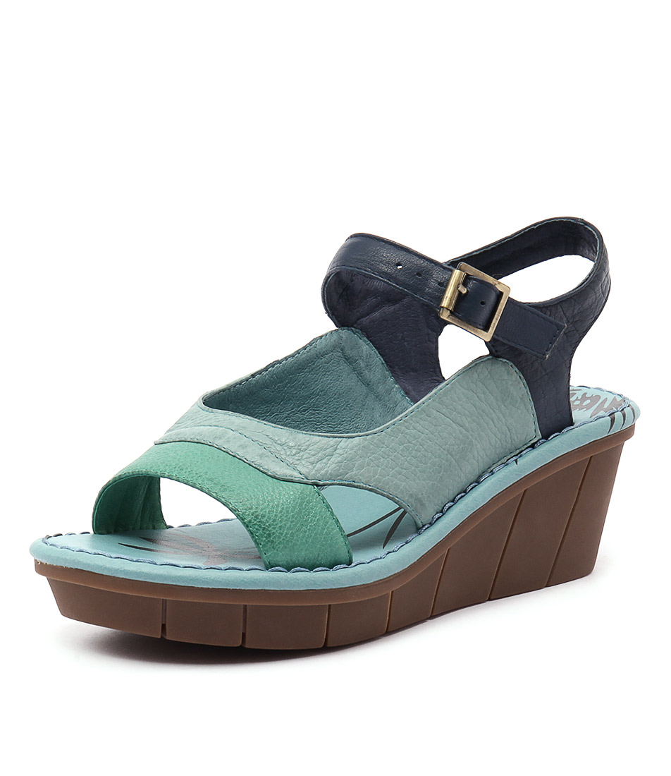 Gamins Ozone Green Multi Leather Sandals