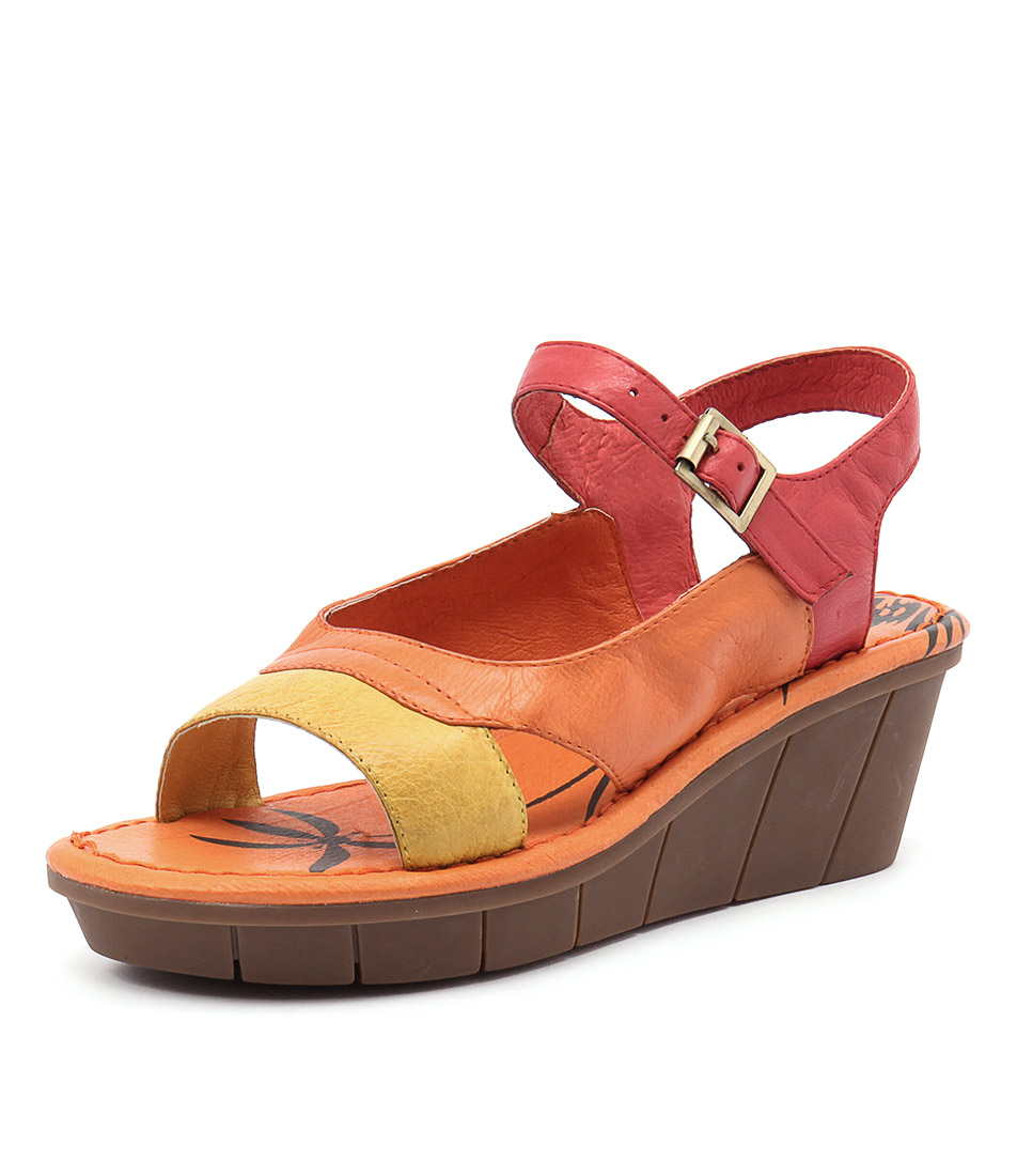 Gamins Ozone Yellow Multi Leather Sandals