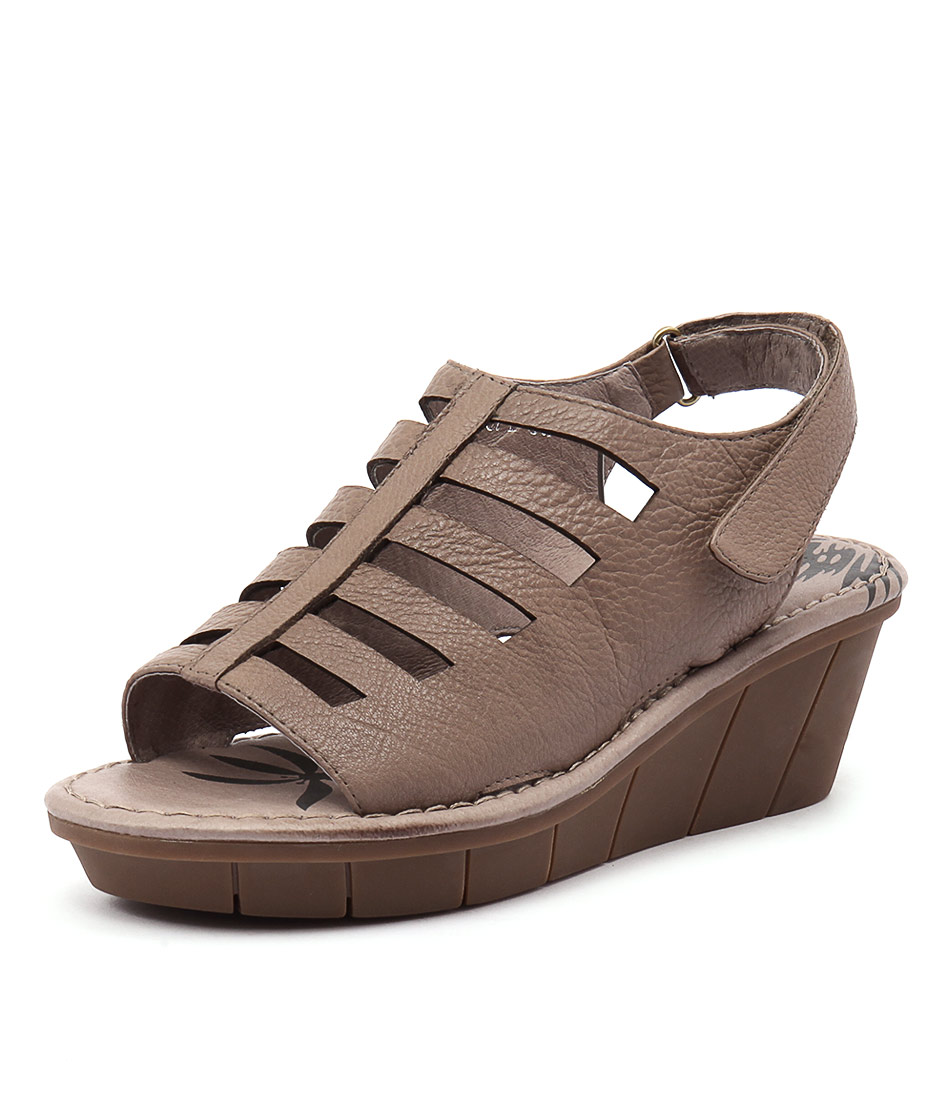 Gamins Opi Taupe Leather Sandals