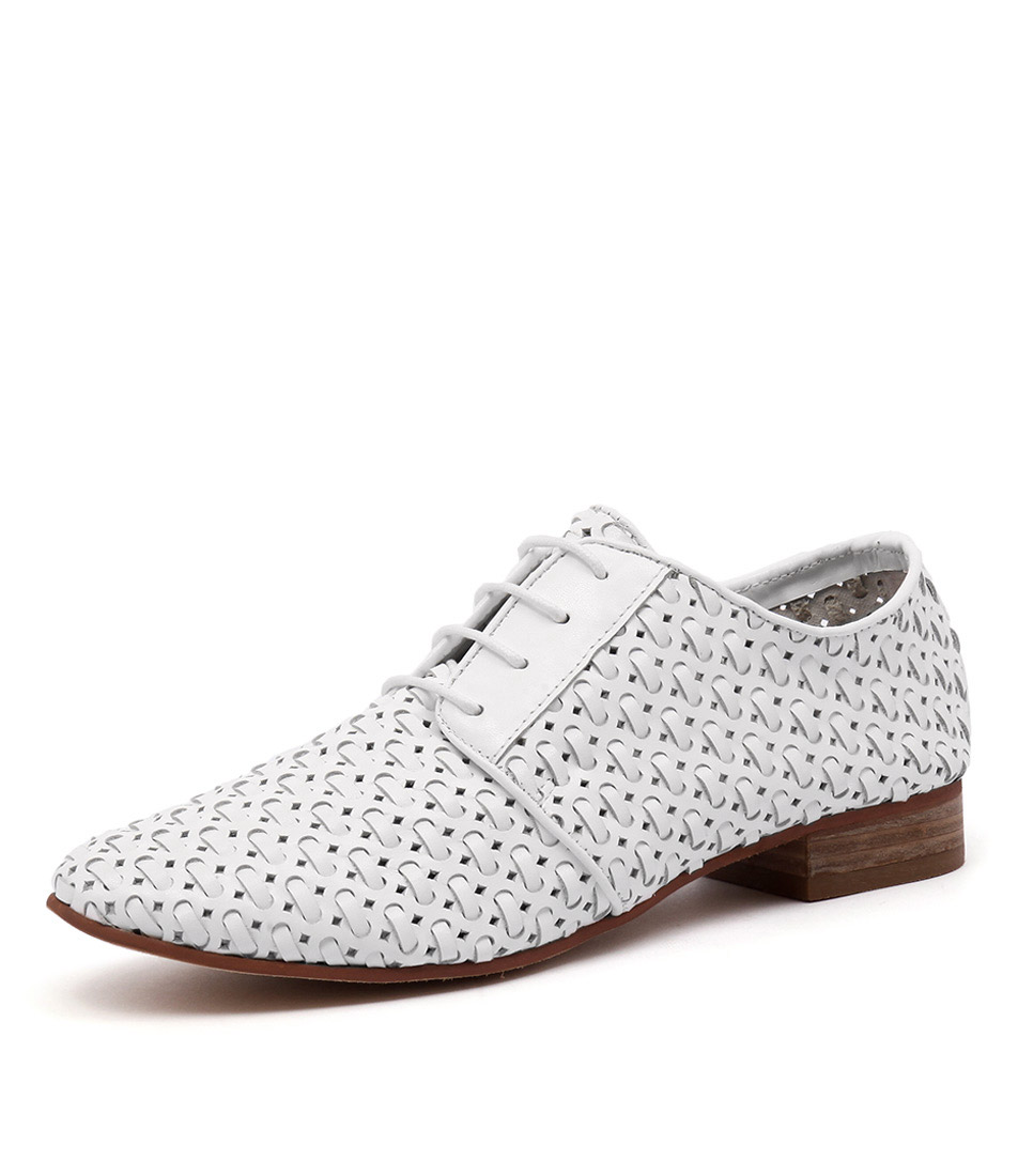 Gamins Addle White Leather Weave Shoes