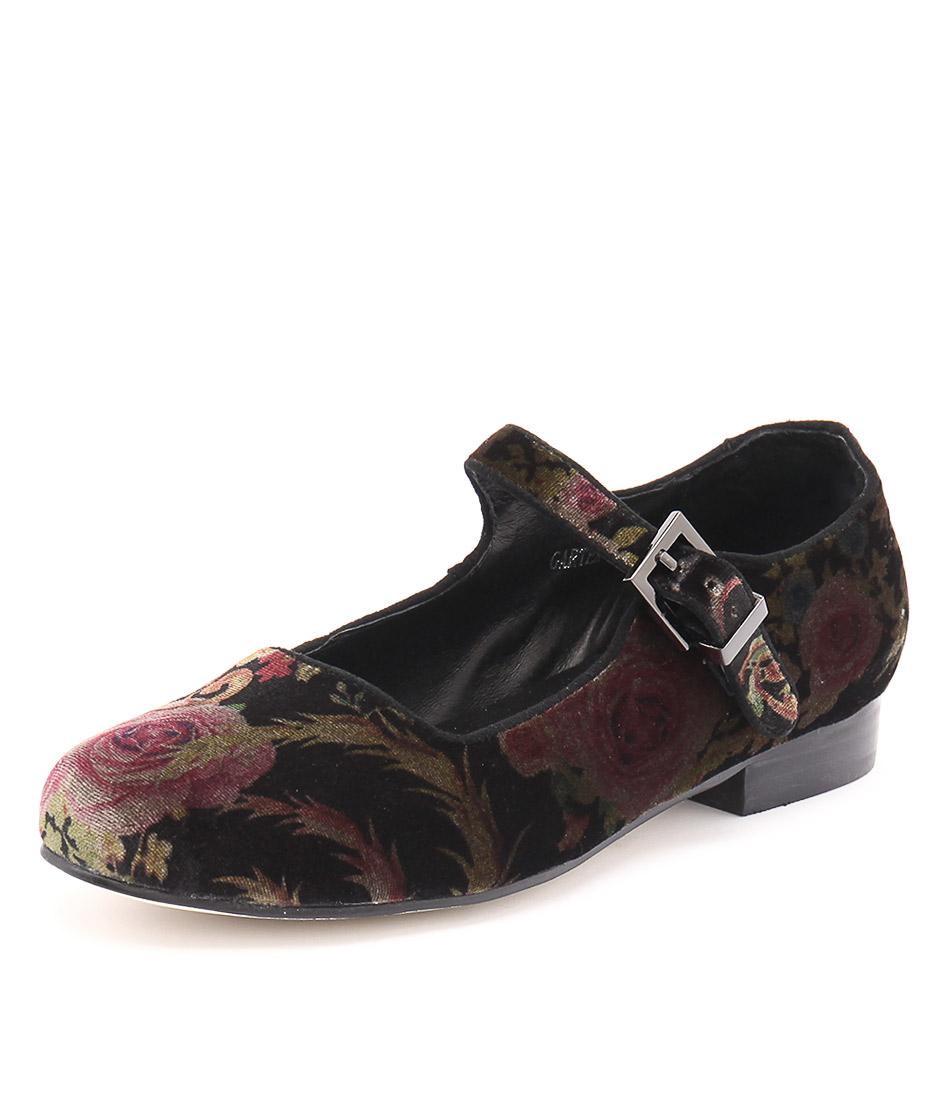 Gamins Garter Black-Floral Shoes