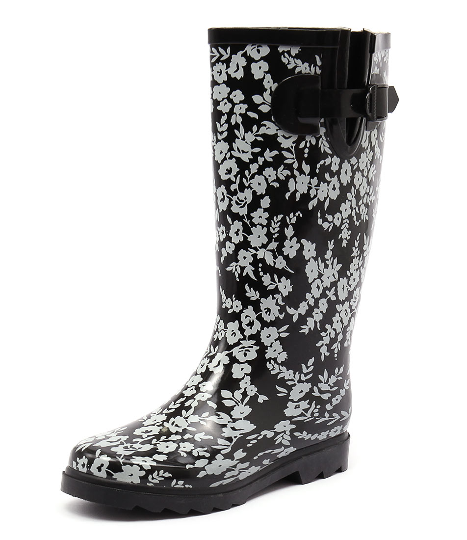 Gumboots Flower Black-White Boots