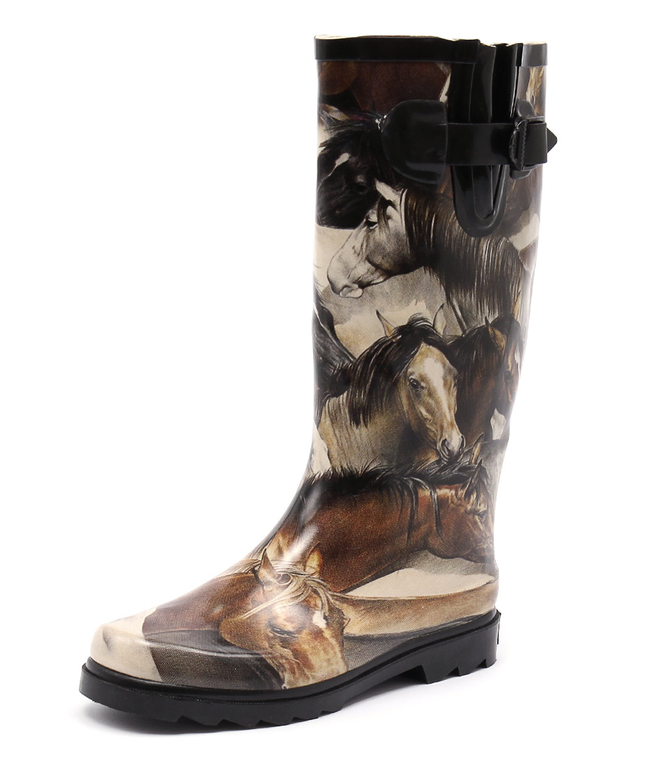 Gumboots Brown Horse Boots