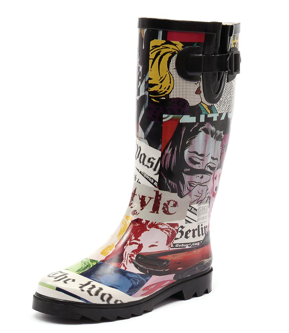 Gumboots Newspaper Print Long Boots
