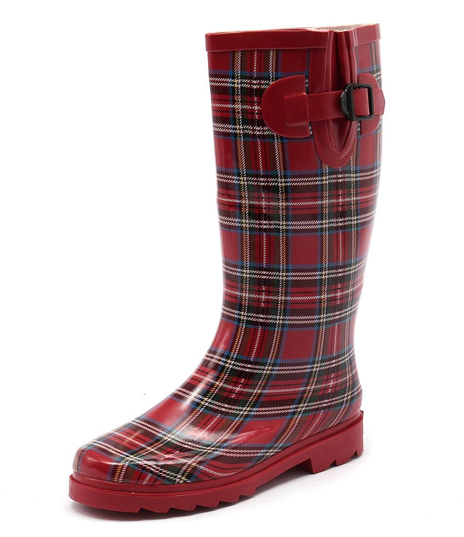 Gumboots Long Red Tartan Boots