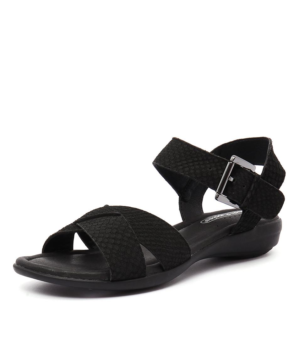 Hush Puppies Colada Black Matte Snake Embossed Sandals