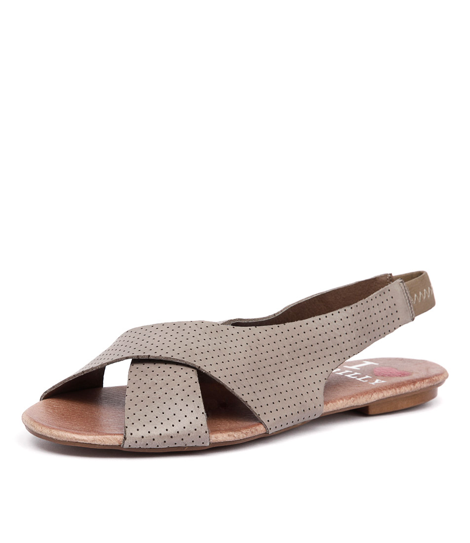 I Love Billy Iota Taupe Pin Punch Leather Sandals