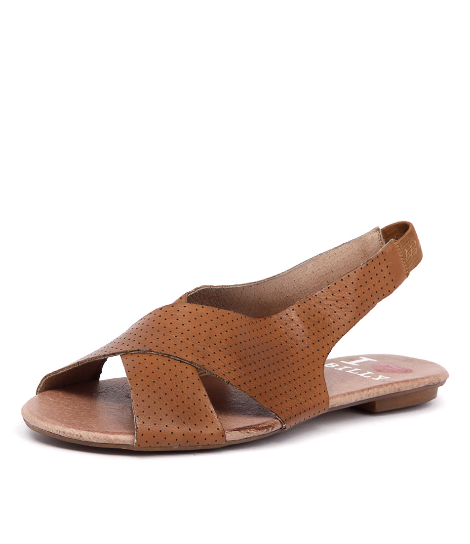 I Love Billy Iota Tan Pin Punch Leather Sandals