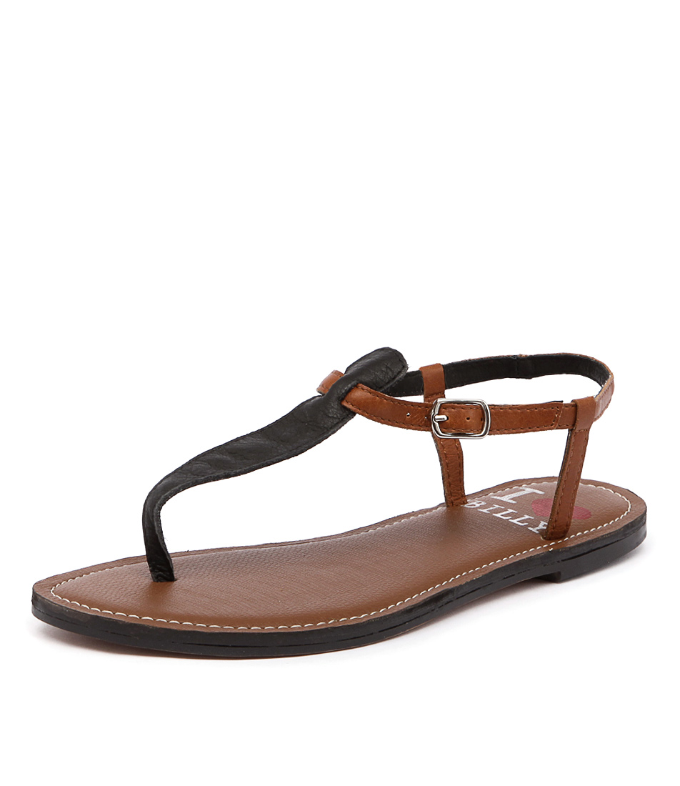 I Love Billy Spoon Black-Tan Leather Sandals