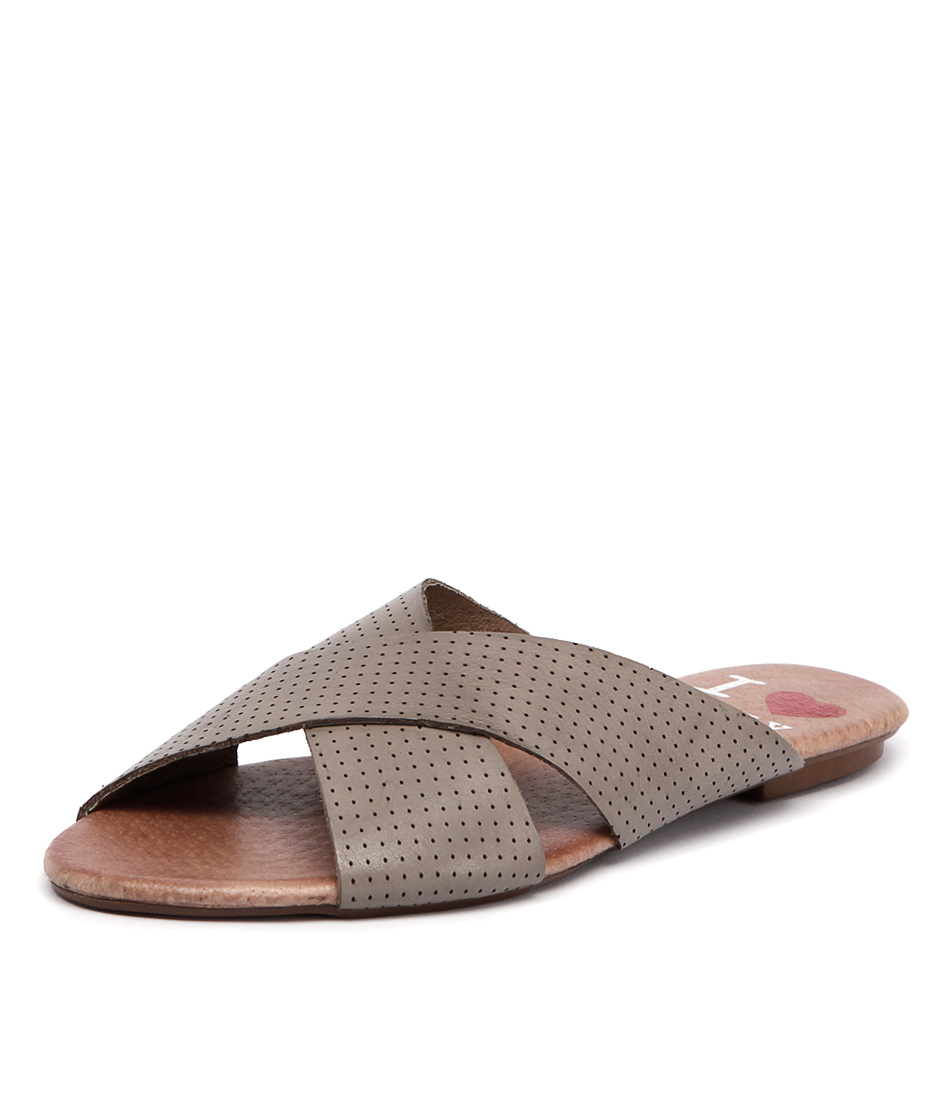 I Love Billy Irun Taupe Pin Punch Leather Sandals