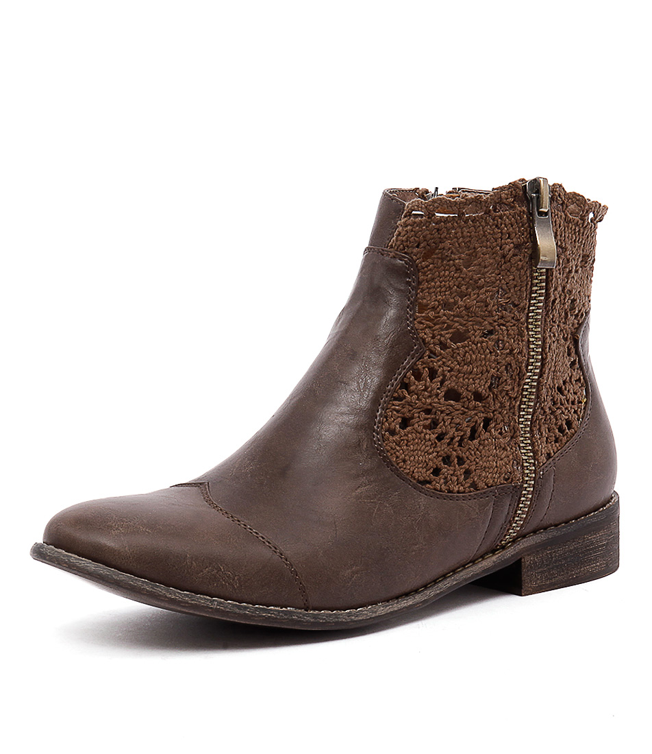 I Love Billy Flutter Choc Smooth-Choc Lace Boots