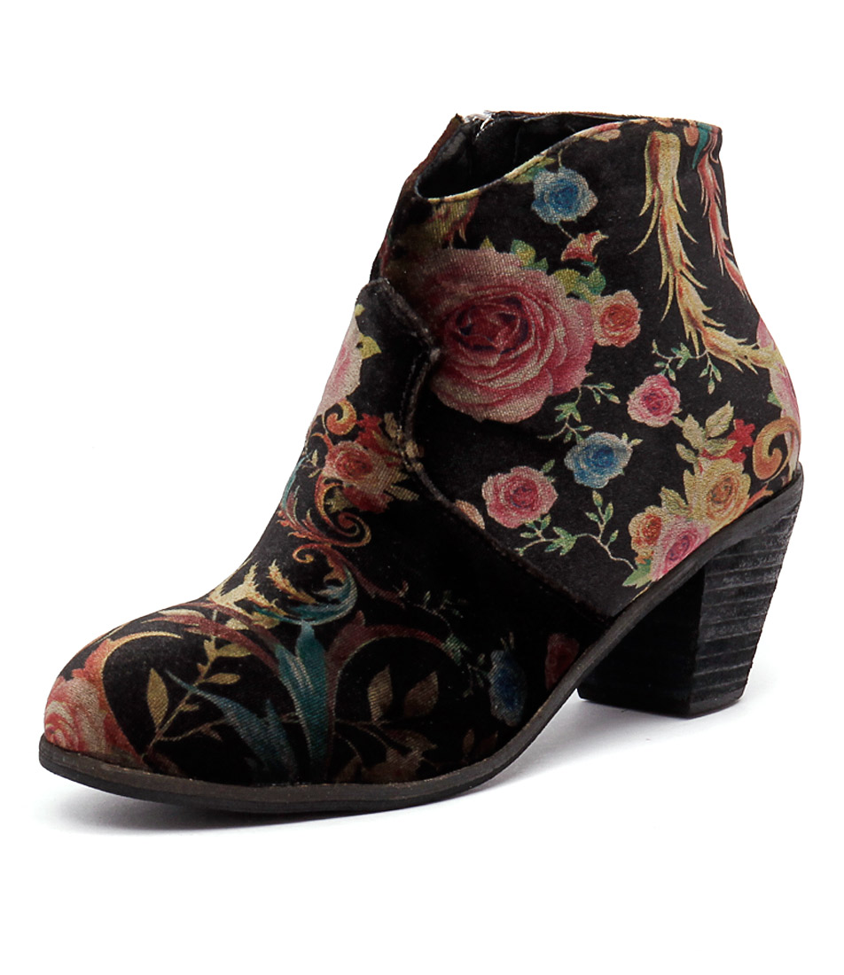 I Love Billy Ranch Black Print Velvet Boots