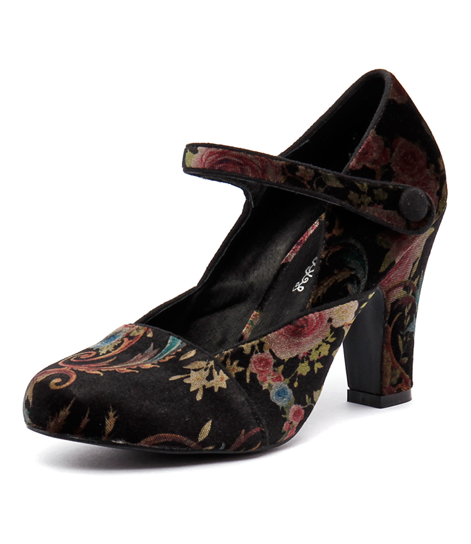I Love Billy Tyler Black Velvet Print Shoes